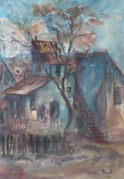 Picturi cu peisaje Case in cartier