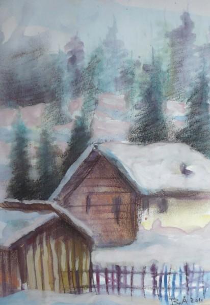 Picturi cu peisaje Case si brazi