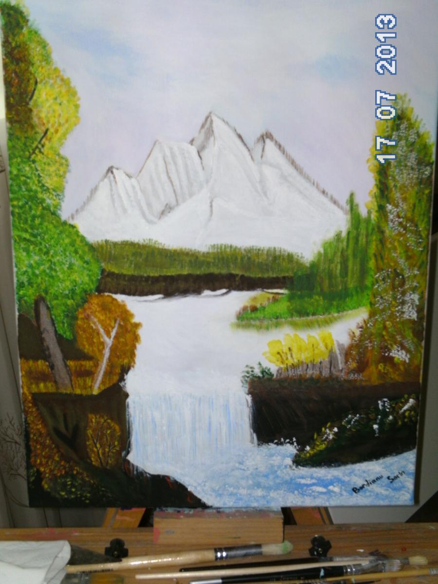 Picturi cu peisaje Dimineata la munte