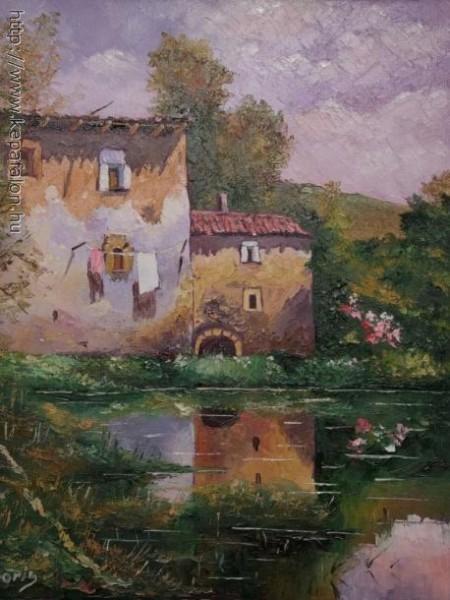 Picturi cu peisaje Case pe malul lacului