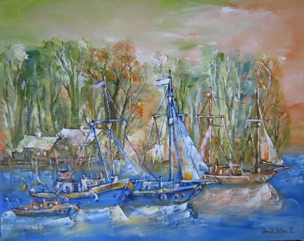 Picturi cu peisaje Peisaj cu corabii vechi in delta