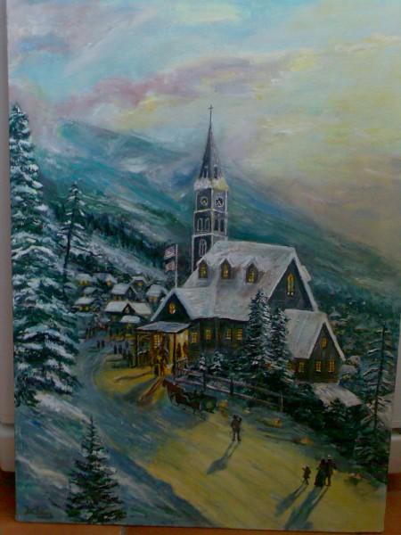 Picturi cu peisaje Seara de craciun