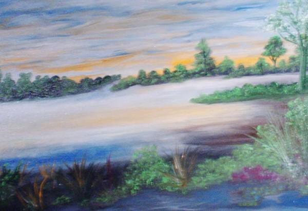 Picturi cu peisaje Rau in culorile inserarii