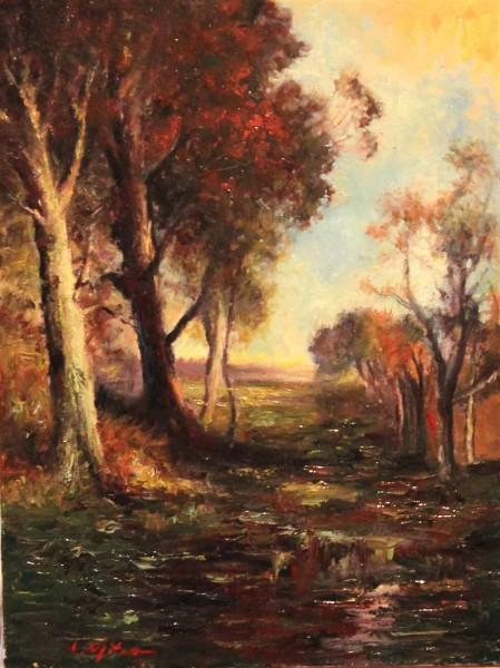 Picturi cu peisaje Amurg de toamna