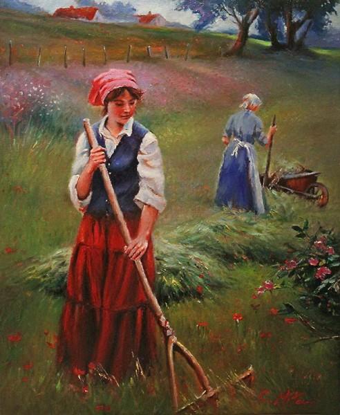 Picturi cu peisaje Femei la camp