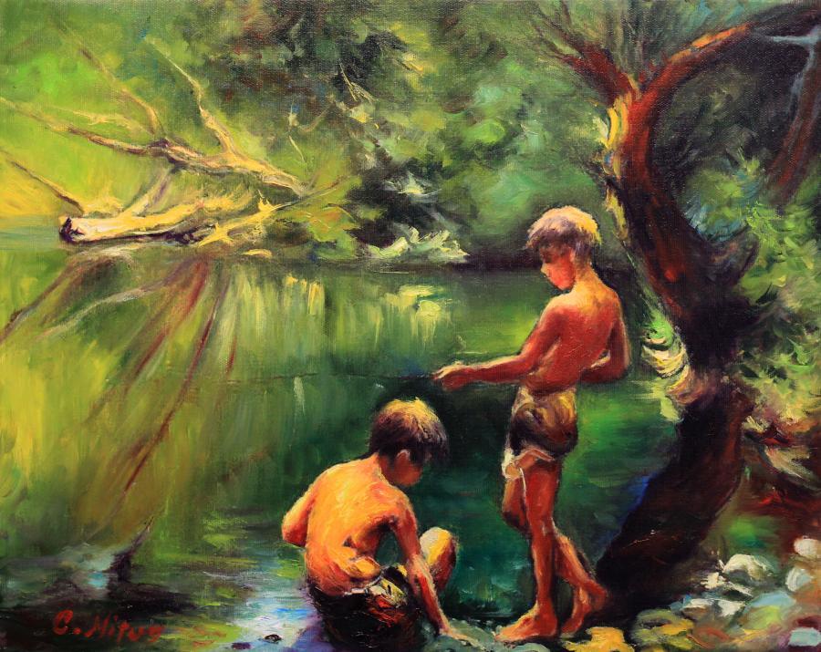 Picturi cu peisaje O zi la pescuit 001