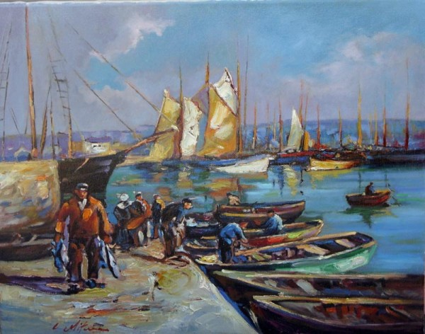 Picturi cu peisaje Pescari in port