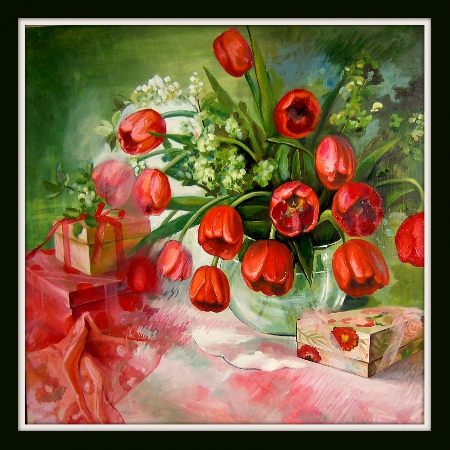 Picturi cu peisaje Tulipanes