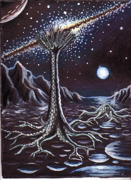 Picturi cu peisaje Peisaj cu arbore extraterestru