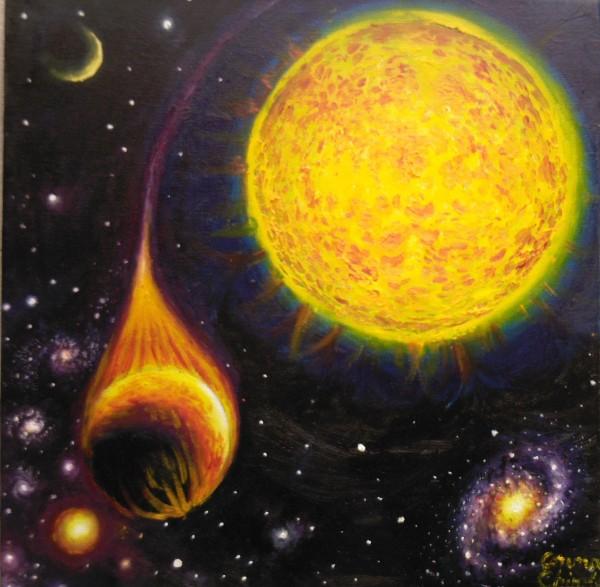 Picturi cu peisaje Planeta devorata de steaua ei