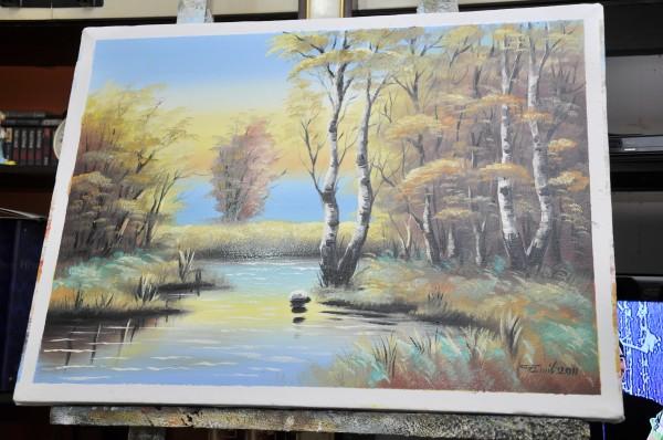 Picturi cu peisaje Delta cu mesteceni