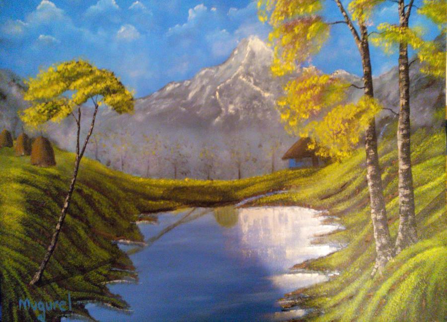 Picturi cu peisaje La poalele muntelui