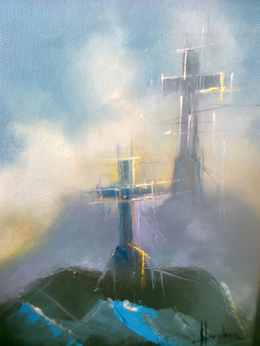 Picturi cu peisaje Crucea de pe Caraiman, reflectare