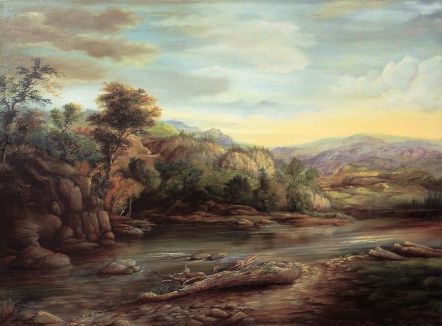 Picturi cu peisaje Peisaj cu rau de munte