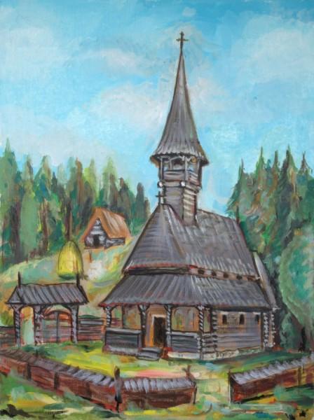 Picturi cu peisaje Biserica din maramures