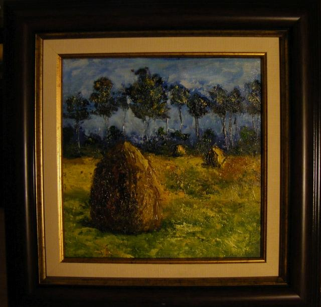 Picturi cu peisaje Capite pe pajistea cosita
