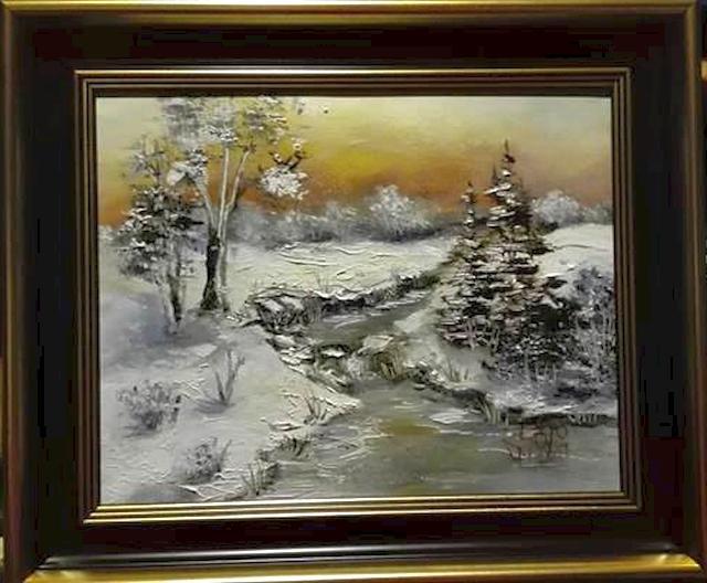 Picturi cu peisaje Iarna pe valea satului