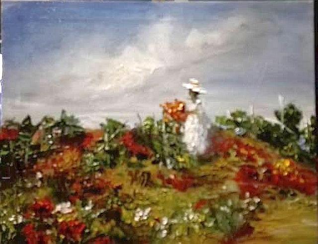 Picturi cu peisaje In via parasita, culegand flori