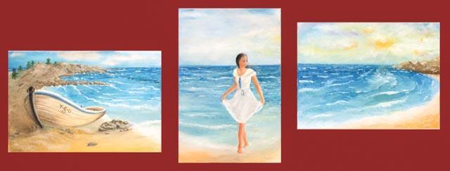 Picturi cu peisaje plimbare la tarmul marii
