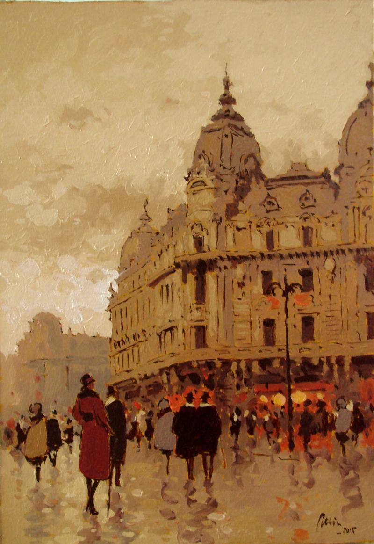 Picturi cu peisaje bucurestiul de altadata,piata palatului regal