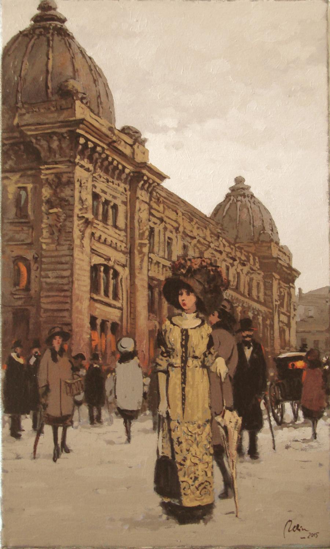 Picturi cu peisaje pe calea victoriei,fosta posta centrala