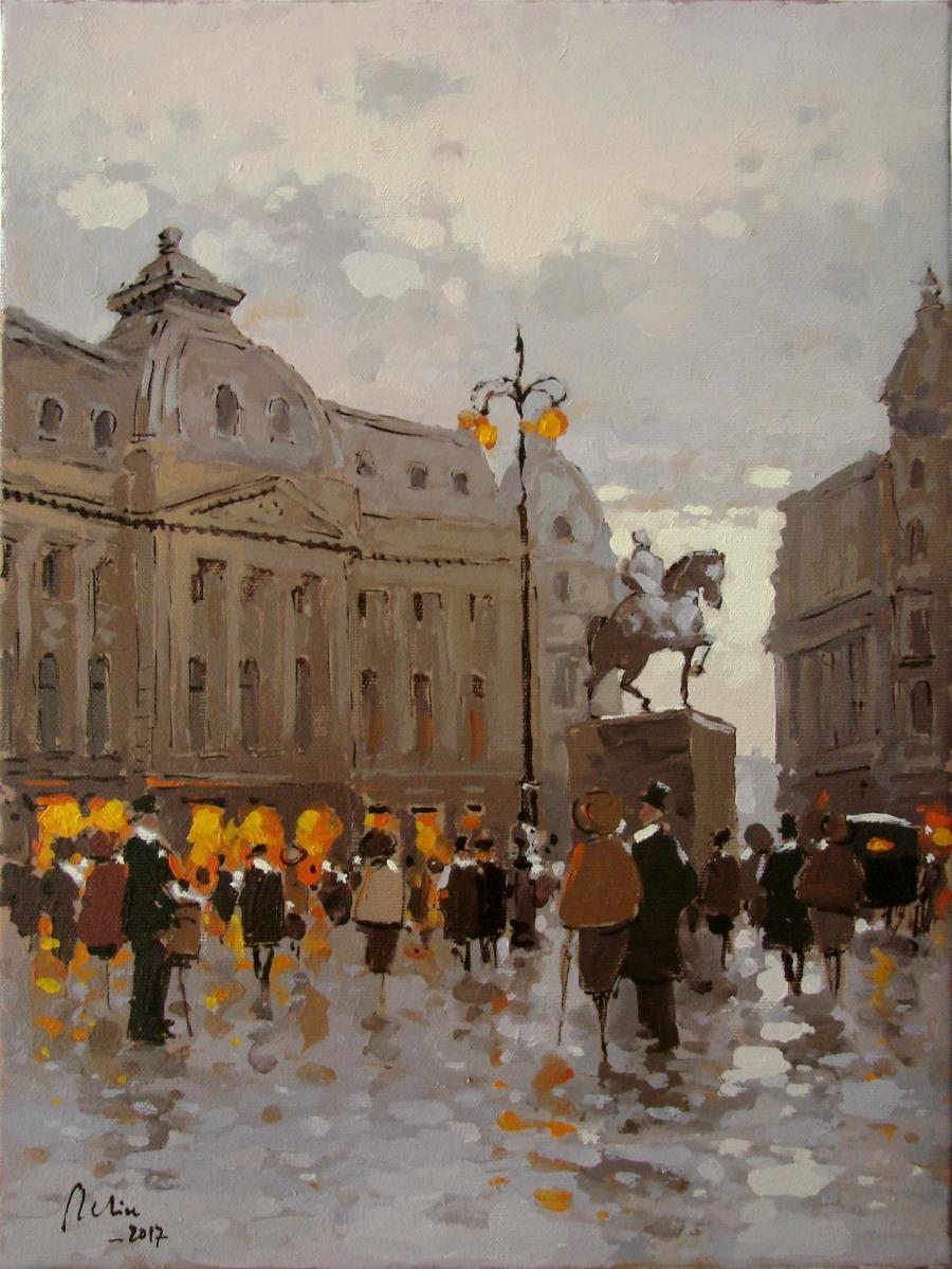 Picturi cu peisaje Piata Palatului a vechiului Bucuresti