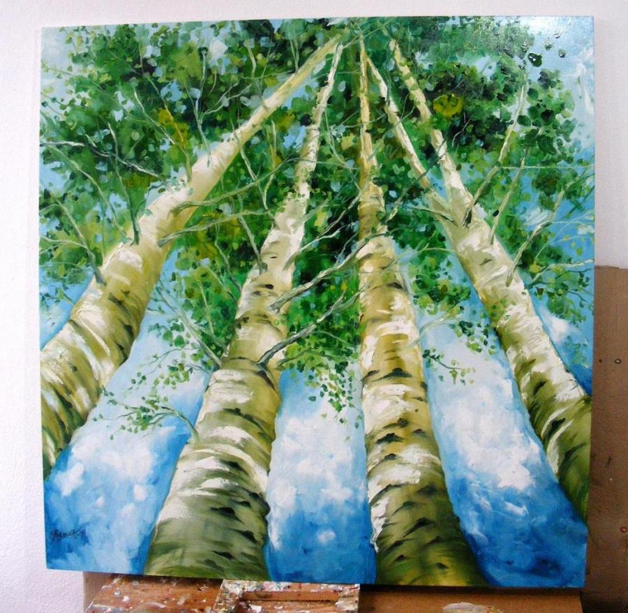Picturi cu peisaje Mesteceni in camasa de vara