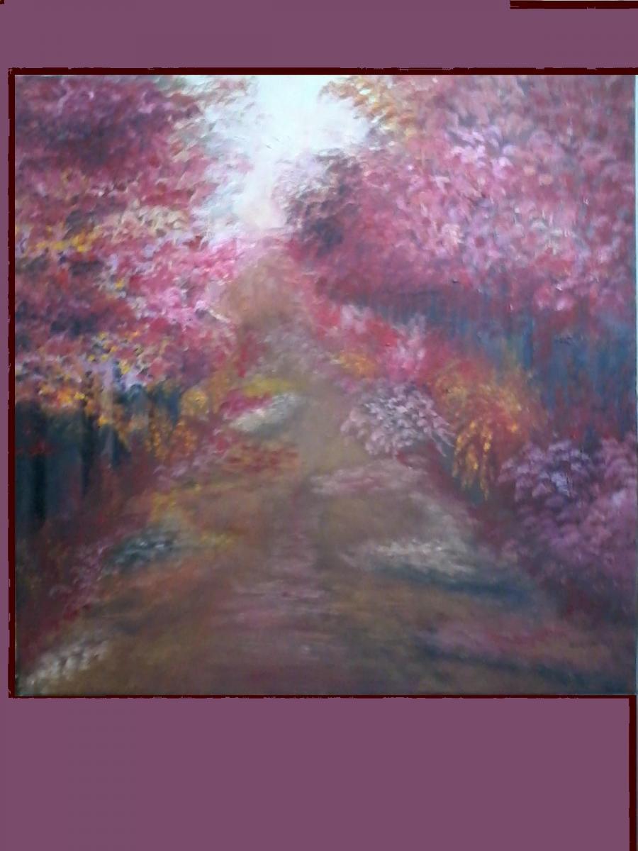 Picturi cu peisaje Plimbare pe aleea inflorita