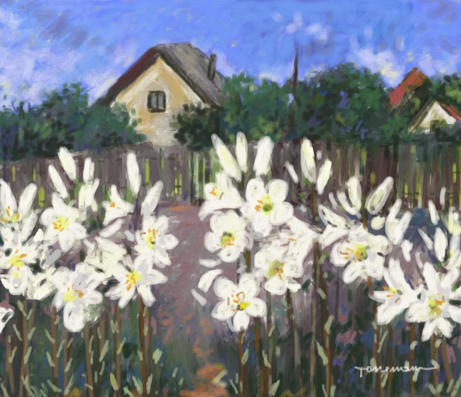 Picturi cu peisaje gradina cu crini