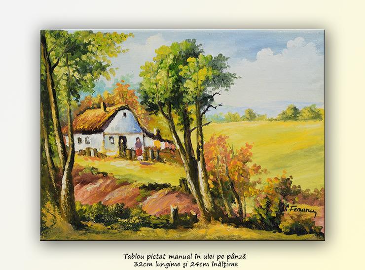 Picturi cu peisaje Peisaj rural (2) - tablou ulei pe panza, 32x24cm