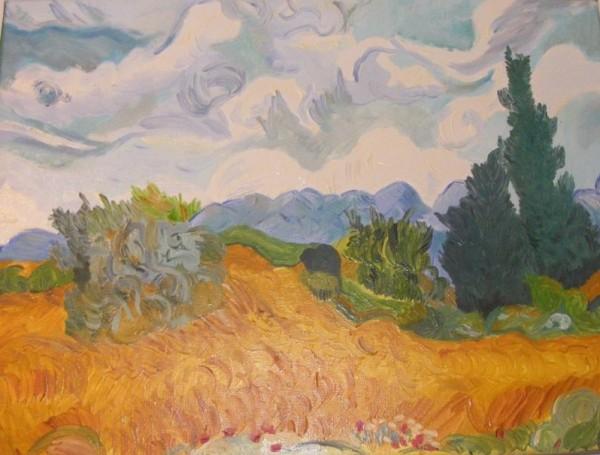 Picturi cu peisaje Lan de grau cu chiparosi