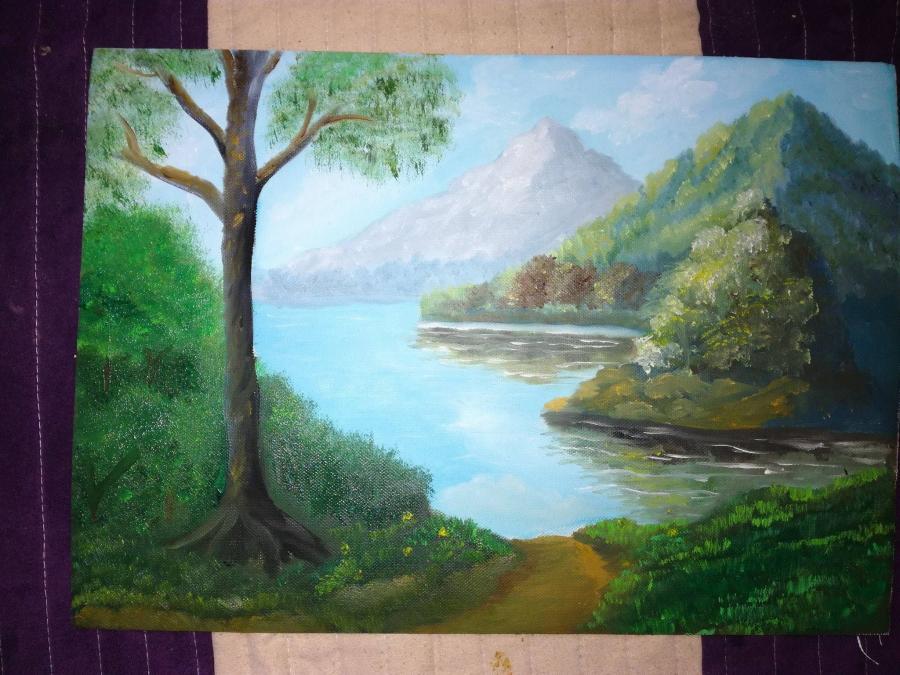 Picturi cu peisaje Dimineata pe margine de lac