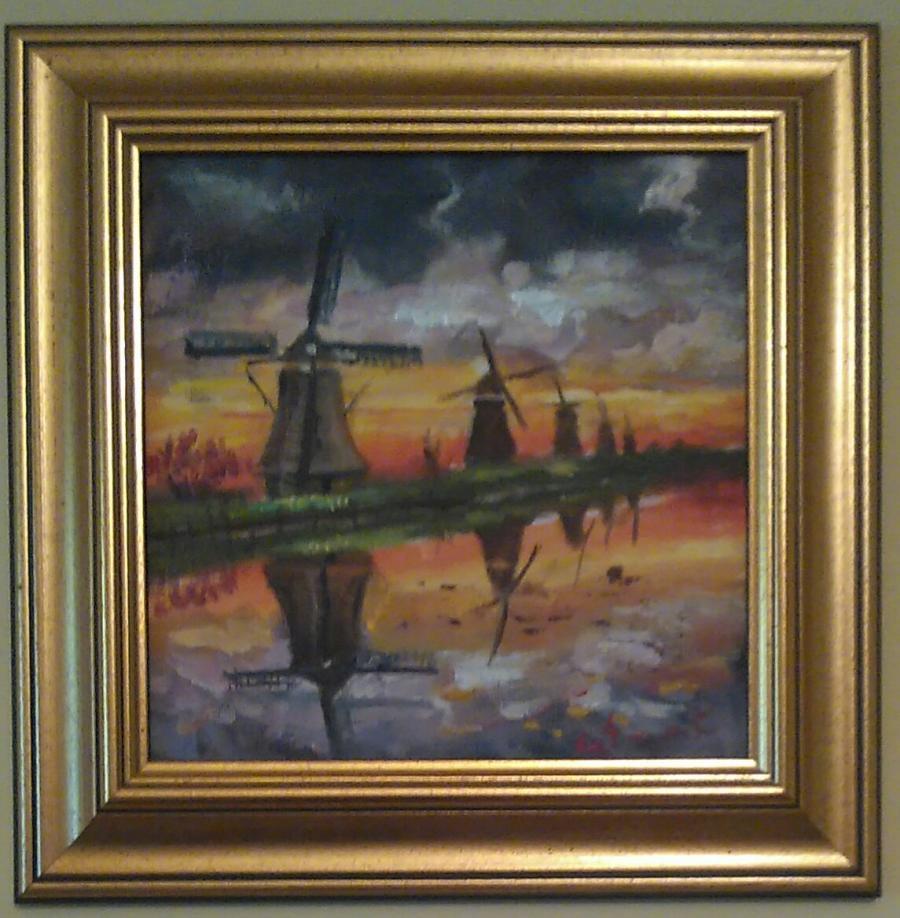 Picturi cu peisaje Amurg pe malul apei