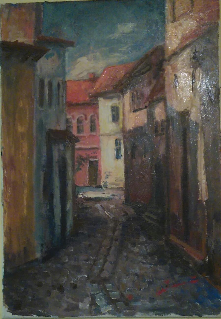 Picturi cu peisaje Străduță veche