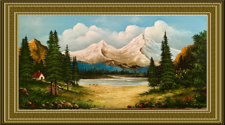 Picturi cu peisaje Brazi, munti si lac