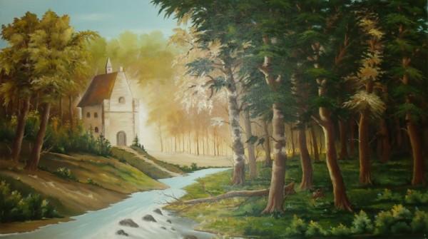 Picturi cu peisaje Casa din padure