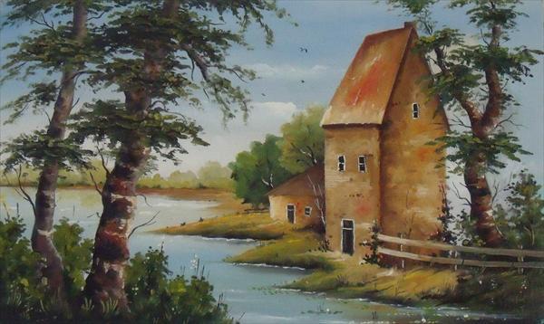 Picturi cu peisaje Casa pe malul apei