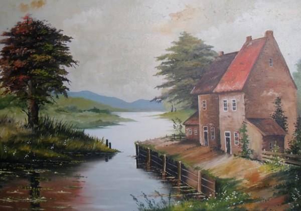 Picturi cu peisaje Case pe malul apei