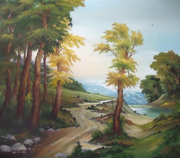 Picturi cu peisaje Drumul spre munte