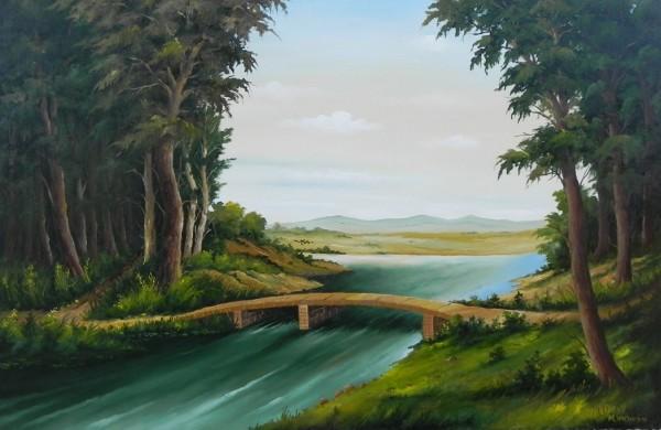 Picturi cu peisaje Padure cu pod de piatra 2