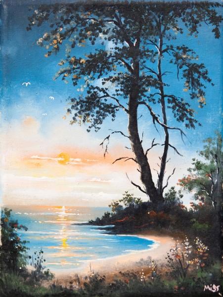 Picturi cu peisaje Padure noaptea la malul marii
