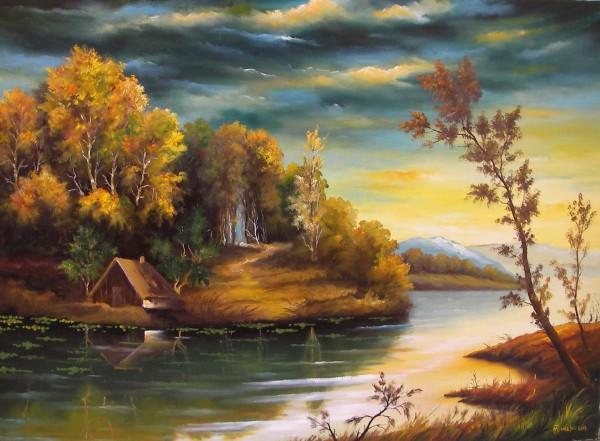Picturi cu peisaje Peisaj la margine de rau