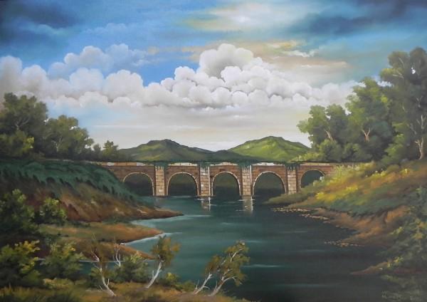 Picturi cu peisaje Pod de piatra in padure 2