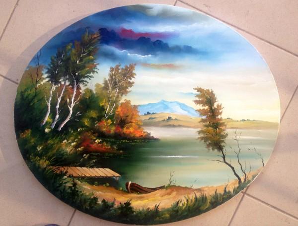 Picturi cu peisaje Podet in padure oval