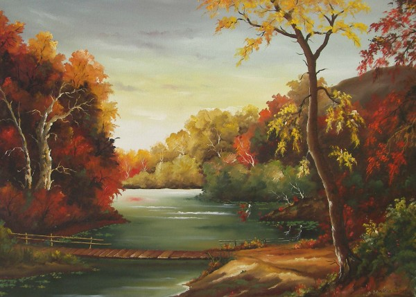 Picturi cu peisaje Podisca de lemn