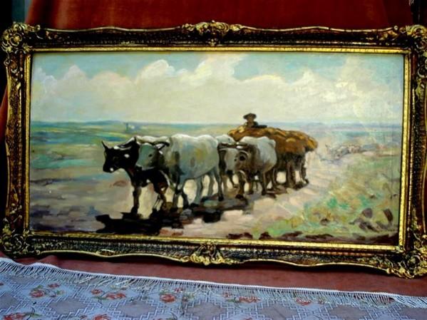 Picturi cu peisaje Carul cu boi1
