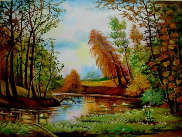 Picturi cu peisaje Lacul rosu