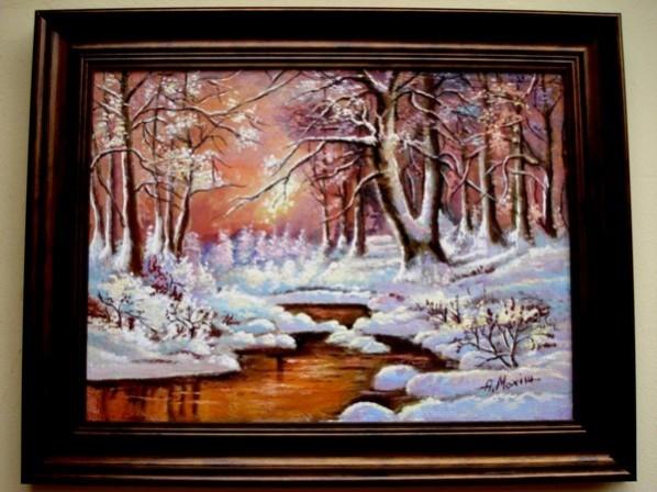 Picturi cu peisaje Tablou apus de iarna11