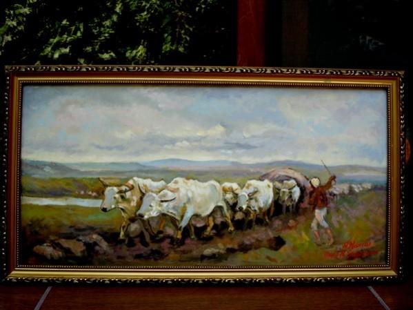 Picturi cu peisaje Tablou carul cu boi  drum greu