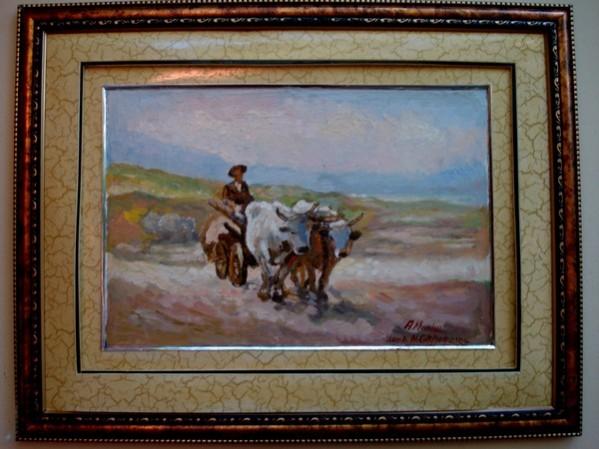 Picturi cu peisaje Tablou crul cu boi02